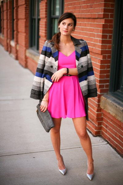Deep v-neck pink dress with multicolored striped blazer