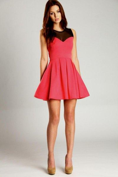 pink and black semi clean mini skater dress