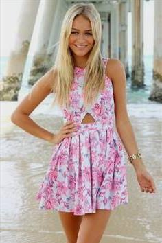 white and pink cutout front floral printed mini skater dress
