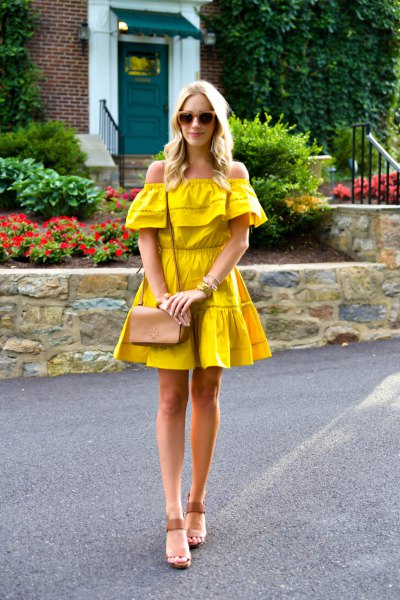 mustard yellow outside the shoulder fit and flare mini dress