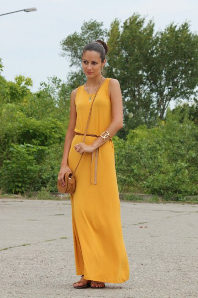 belt sleeveless mustard yellow maxi dress