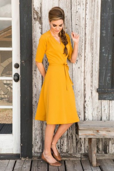 yellow half sleeve wrap midi puffy dress