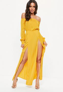of shoulder mustard yellow maxi dress with double slit