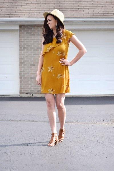 a shoulder ruffle mini floral printed dress