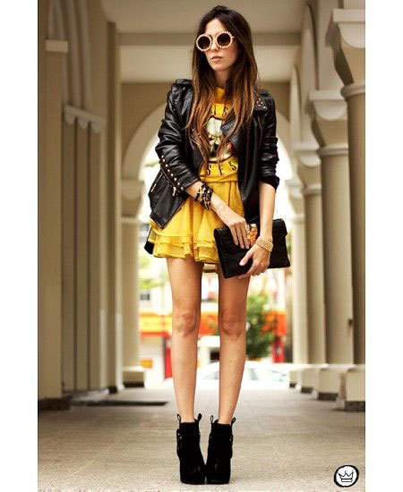 black leather jacket with mustard yellow mini multilayered dress