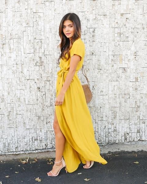 tie waist mustard yellow wrap maxi dress