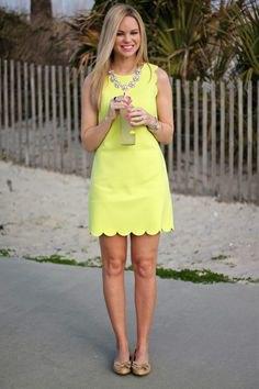 light yellow scalloped mini mini mantle dress