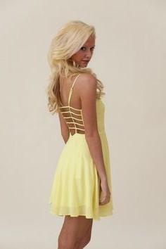 light yellow backless mini chiffon dress