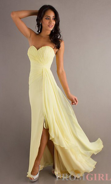 sweetheart neckline fit and flare chiffon floor length dress