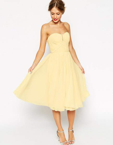 yellow strapless darling fit and flare midi dress