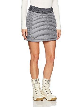 white sweater with light gray mini skirt