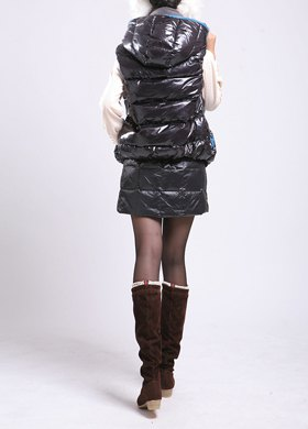 black down jacket with a matching mini skirt
