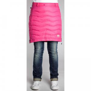 warm pink down skirt with gray blue cuffed jeans