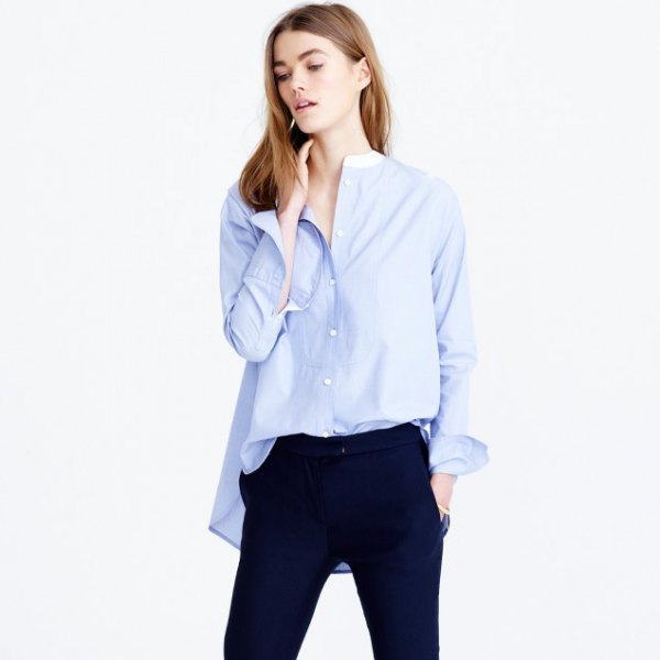 big sky blue no collar shirt with navy blue jeans
