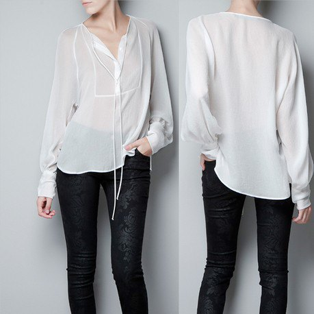 white semi sheer chiffon no collar dress shirt with black velvet leggings