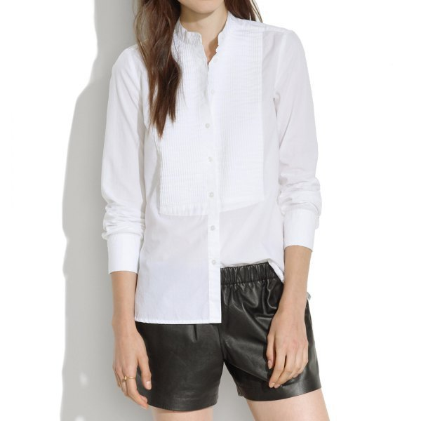 pleated suede button up blouse with black leather shorts