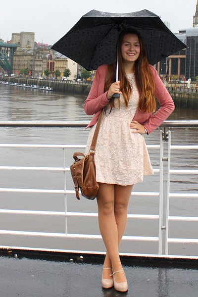 white fit and flare mini dress with pink pink cardigan