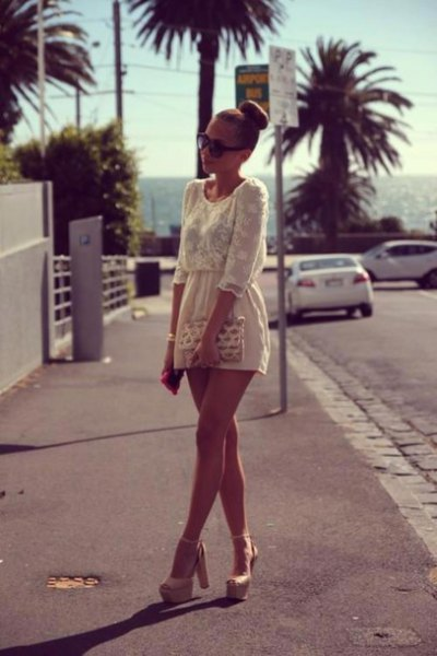 cream gathered waist two tinted lace and chiffon mini dress