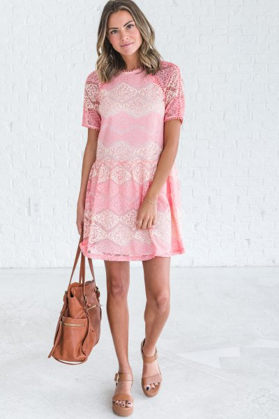 cream short sleeve mini lace dress with pink platform sandals
