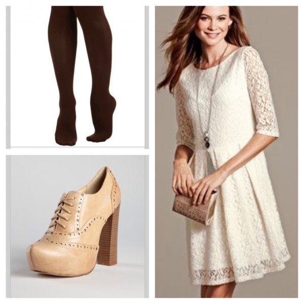 cream half-heated overall waist dress in the waist