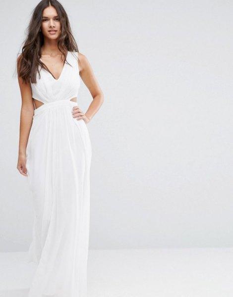 white v-neck chiffon floor length flowing dress