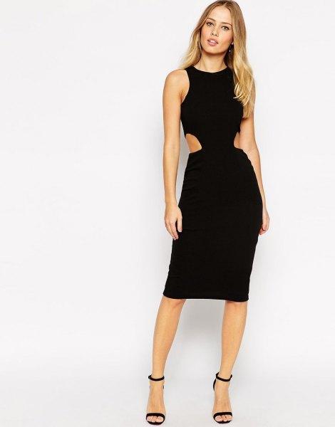 black side cut out knee length dress with heels in heels