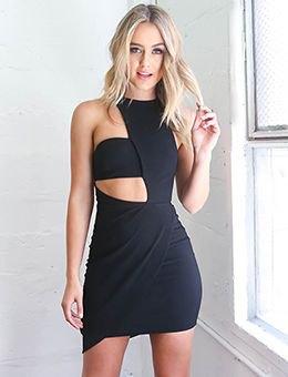 black asymmetrical cut out mini bodycon dress