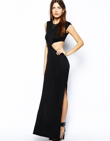 black sleeveless asymmetrical cut-out side maxi high split dress