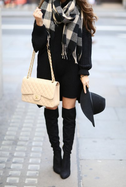 gray black and white plaid wool coat with sweater dress