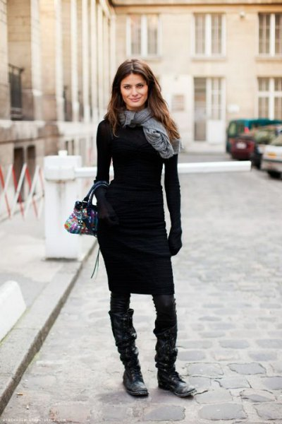 gray linen scarf with form-fitting sweater dress and boots