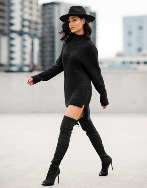 ribbed mini chunky sweater dress with felt hat and long boots
