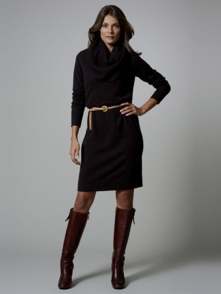 black long sleeve belt dress with knee high leather shoes