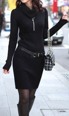 black jacket with ribbed belt mini sweater dress