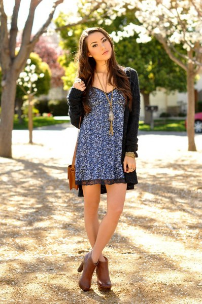 black and white tribal printed mini dress with long cardigan