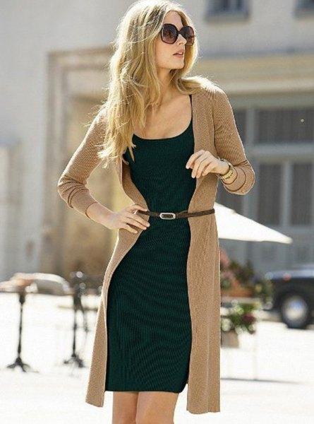 long line crepe cardigan and black shift mini dress