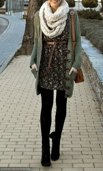 belt in floral mini dress with scarf and leggings