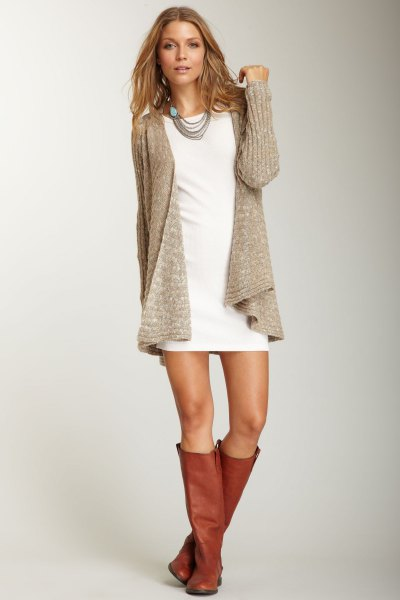 white mini-shirt dress with gray ribbed cardigan