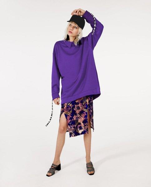 blue collar sweater with navy printed chiffon midi skirt