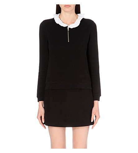 black sweater dress with white collar collar