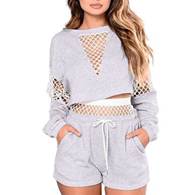gray long sleeve mesh crop top with matching cotton joggers shorts