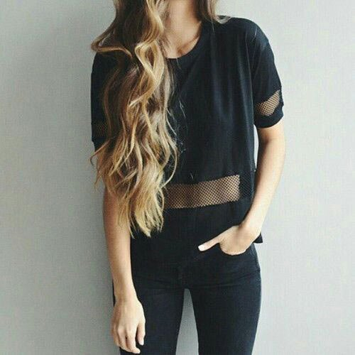 black mesh semi sheer t-shirt with skinny jeans