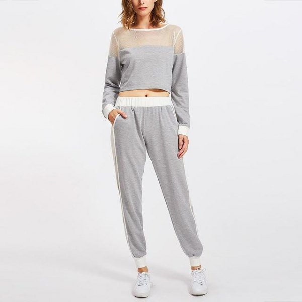 gray net and cropped sweater with matching joggers