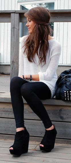 white sweater dress with leggings and black boots with open toe wedge