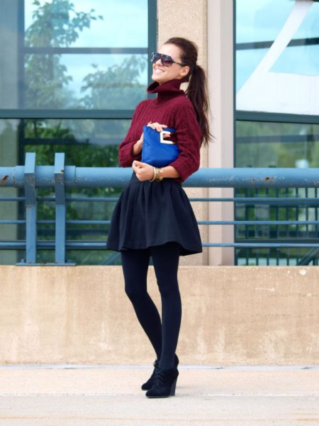 burgundy turtleneck cable knit sweater with skater skirt and black wedges