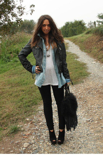 black leather jacket with chambray shirt and wedge with open toe