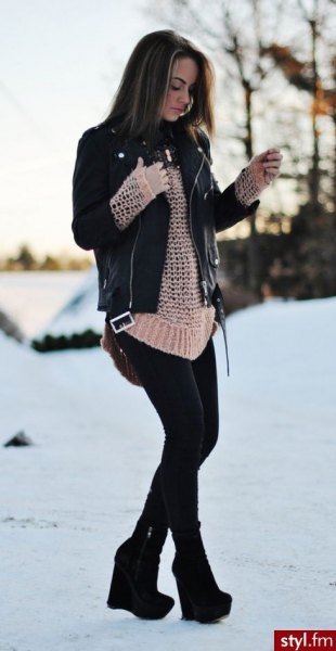black leather jacket with crepe crocheted sweater and ankle boots