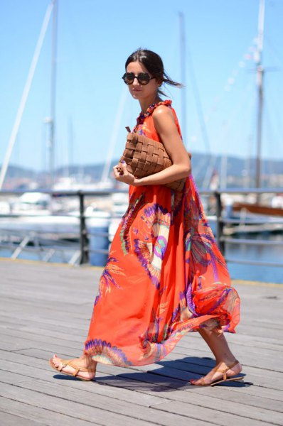 orange and blue printed chiffon maxi blown dress