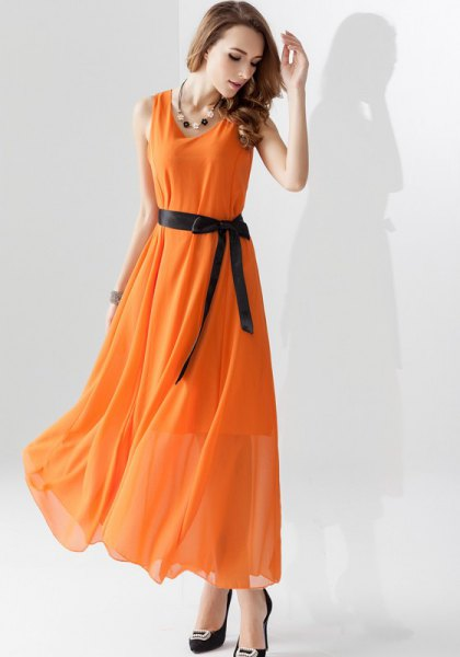 chiffon maxi extended dress with belt