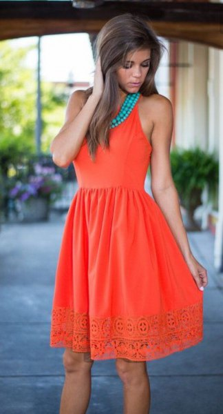 orange and blue gathered waist lace flared dress