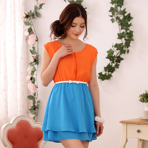 orange and sky blue belt color block mini chiffon dress